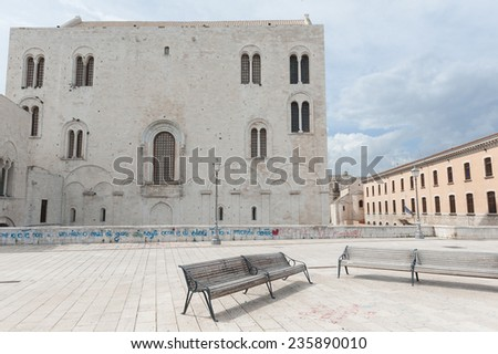 Ancient ruin pilars and buildings in the old town of Bari, Apulia, Italy - stock photo