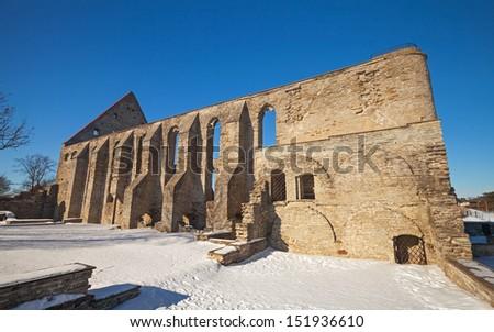 Ancient ruined St. Brigitta convent in Pirita region, Tallinn, Estonia - stock photo