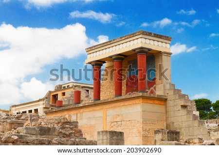 ancient ruines of famouse Knossos palace at Crete, Greece - stock photo