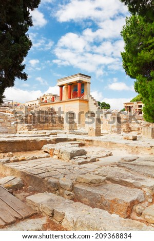 ancient ruines of Knossos palace at Crete at sunny day, Greece - stock photo