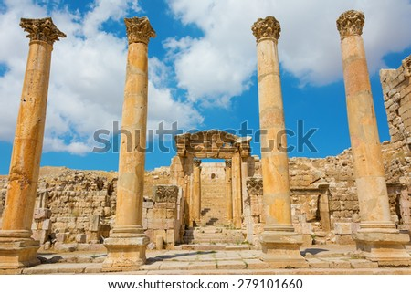 Ancient ruins at Jerash in Jordan