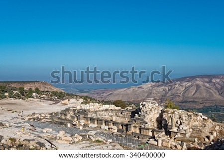 Ancient ruins at Umm Qais, Jordan with the Sea of Galilee (Lake Tiberias)