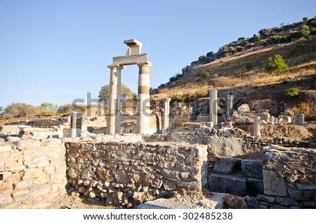 Ancient ruins in Ephesus Turkey - stock photo