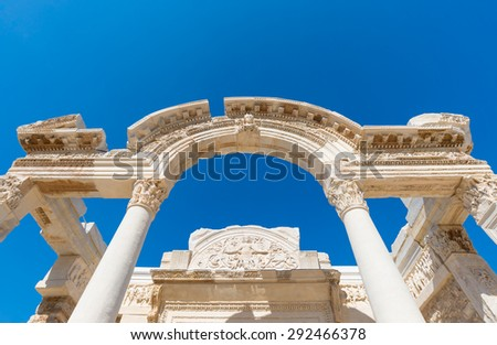 Ancient ruins in Ephesus Turkey,  Ephesus contains the ancient largest collection of Roman ruins in the eastern  - stock photo