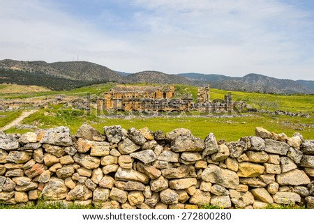 Ancient ruins in Hierapolis, Pamukkale, Turkey. UNESCO World Heritage - stock photo