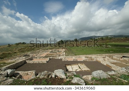 Ancient ruins in Norba on the Volscian mountains, overlooking the Pontine Marshes, Italy - stock photo