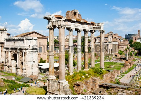 Ancient ruins in Roman Forum, Rome, Italy - stock photo