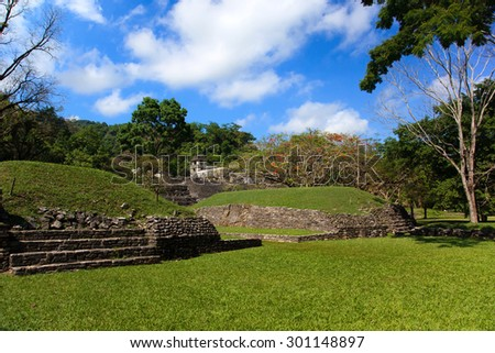 Ancient ruins in the Mayan city of Palenque Chiapas, Mexico. Ball Game Field.