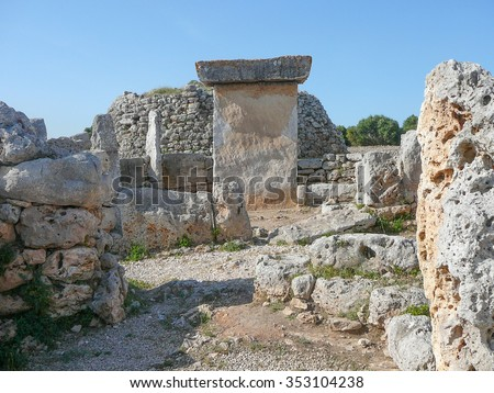 Ancient ruins in the Torre den Galmes talayotic archeological site in Minorca, Spain