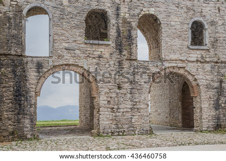 Ancient ruins of a old World War I fort in North Italy
