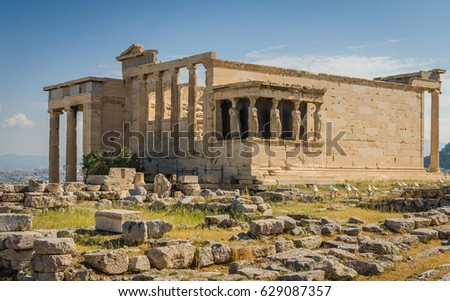 Ancient ruins of Erechtheum, Acropolis, Athens
