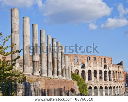 Ancient ruins of great Roman amphitheater Colloseum,Roma,Italy
