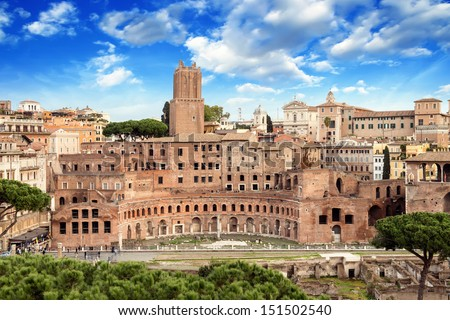 Ancient Ruins of Imperial Forum in Rome, via dei Fori Imperiali. - stock photo