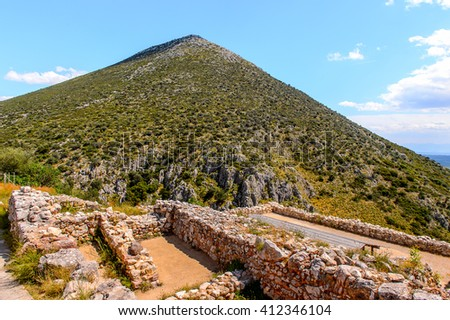 Ancient ruins of Mycenae, center of Greek civilization, Peloponnese, Greece. Mycenae is a famous archaeological site in Greece. UNESCO World Heritage Site - stock photo