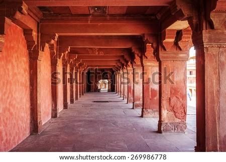 Ancient ruins of palace. Fatehpur Sikri, India - stock photo