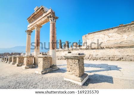 Ancient ruins of Pompeii, Italy - stock photo