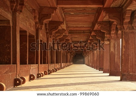 Ancient ruins of Temple. Fatehpur Sikri,  India - stock photo