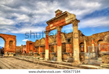 Ancient ruins of the Forum in Pompeii - Italy - stock photo