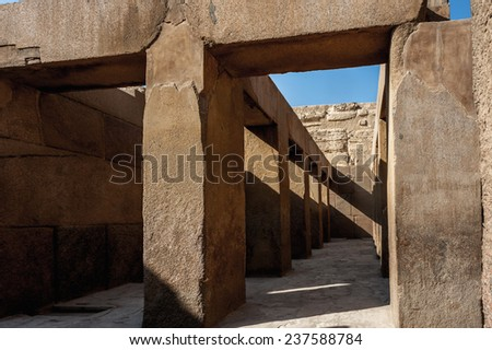 Ancient ruins of the Giza Necropolis, Giza Plateau, Egypt. UNESCO World Heritage - stock photo