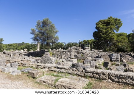 Ancient ruins of the temple Zeus, Olympia archeological site Peloponnese Greece - stock photo