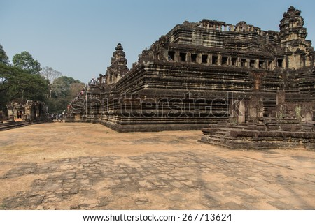 Ancient Ruins of Tomb Raider Temple at Angkor Wat. Archaeologic historical site near Siem Reap Cambodia.