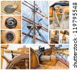 Ancient sailing vessel collage.Yachting concept - stock photo