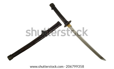 ancient Samurai sword and sheath with isolate background - stock photo