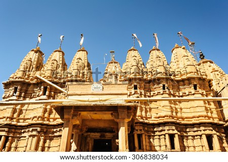 Ancient sandstone made Hindu Temple inside Golden fort of Jaisalmer, Rajasthan, India with copy space - stock photo