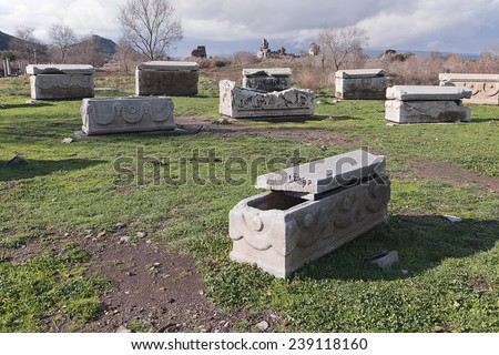 Ancient sarcophagi in an old town of Ephesus - stock photo