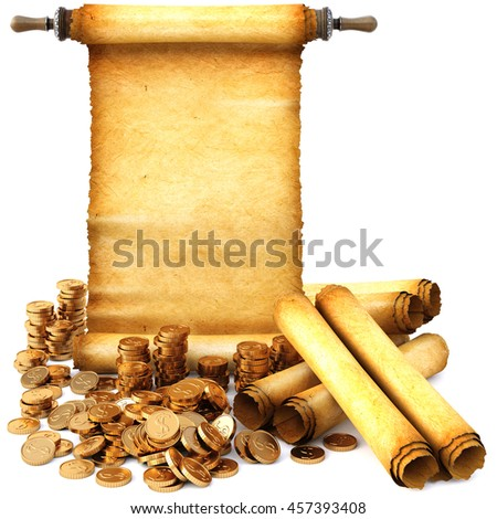 ancient scroll and a bunch of gold coins. Isolated on white background. 3D illustration. - stock photo
