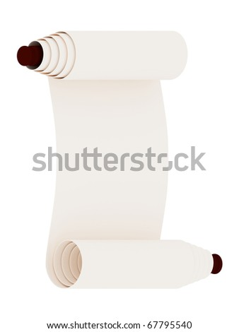 Ancient scroll. Isolated on white background.3d rendered. - stock photo