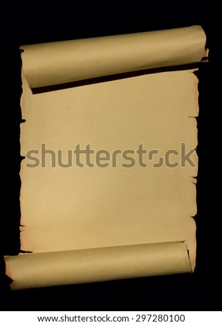 Ancient scroll rolled in wooden Background with Empty Space for text