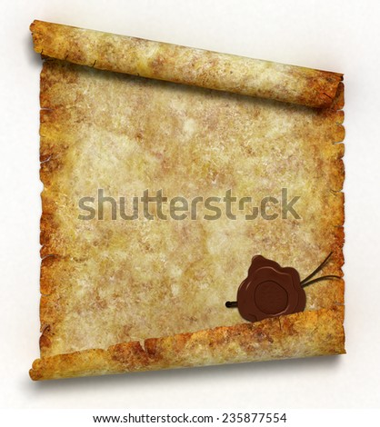 Ancient scroll with wax seal as symbol of wisdom and knowledge. 3d render - stock photo