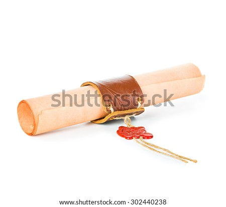 Ancient scroll with wax seal isolated on white background - stock photo