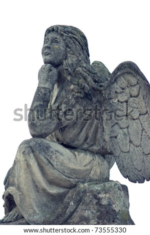 Ancient sculpture of an angel with wings on a white background - stock photo