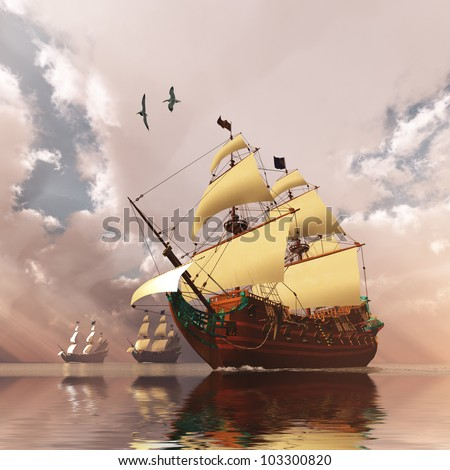 Ancient Ships - Three tall ships in full sail cross a large ocean with glistening calm seas. - stock photo