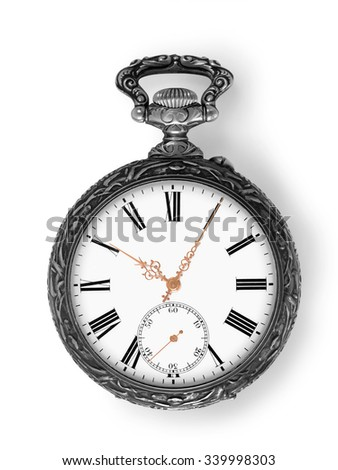 Ancient silver pocket watch with golden hands isolated on white with clipping path
