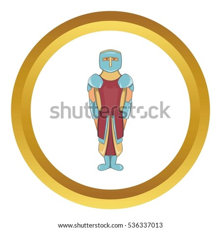 Ancient spartan gladiator legionnaire  icon in golden circle, cartoon style isolated on white background
