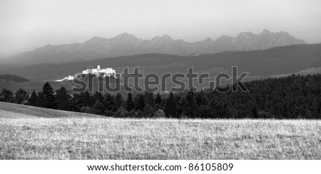 ancient Spis castle in black and white, Slovakia - stock photo