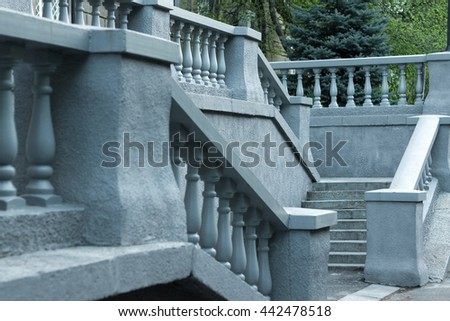 Ancient staircase with sculpted balusters  - stock photo