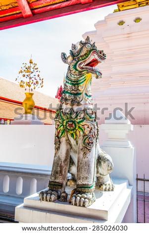 Ancient statue at Falang temple, Thailand. - stock photo