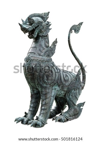 ancient statue of a lion from Wat Benchamabophit Bangkok, Thailand