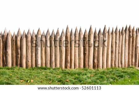 Ancient stockade isolated with clipping path - stock photo