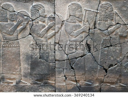 Ancient stone bas-relief with musicians, late Hittite period (Aramaean, 8th Cent. B.C.) in Istanbul Archaeological Museum, Turkey - stock photo