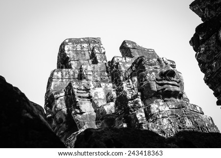 Ancient stone faces of Bayon temple, Cambodia