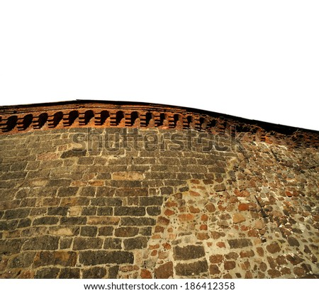 ancient stone fortress wall surface texture on white background                                 - stock photo