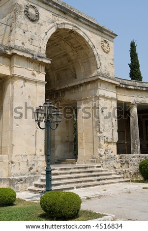 Ancient stone gate in Corfu town + Greece