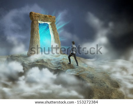 Ancient stone gate opening to another dimension. Digital illustration. - stock photo