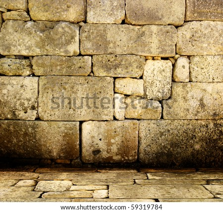 Ancient stone interior - stock photo