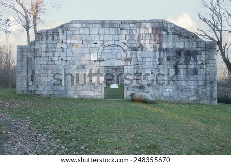 ancient stone ruins of the San Martino Church in Gattico , Italy - stock photo